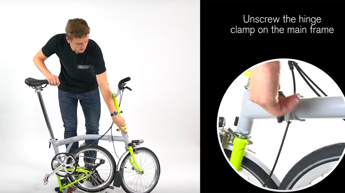 how to fold a brompton bicycle